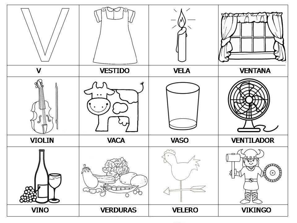 Lista De Palabras Con V Para Colorear Material Para