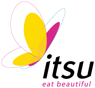 A white square containing a rainbow coloured butterfly with itsu in big bold black font with eat beautiful in small black font on a bright cbackground