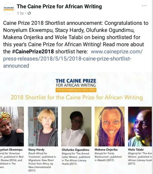Three Nigerian writers make 2018 Caine Prize shortlist