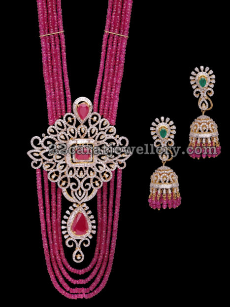 Ruby Beads Long Chain Jhumkas