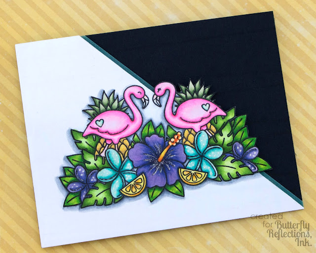 Sunny Studio Stamps: Tropical Paradise Flamingos & Hibiscus Flower card by Cynde Whitlow
