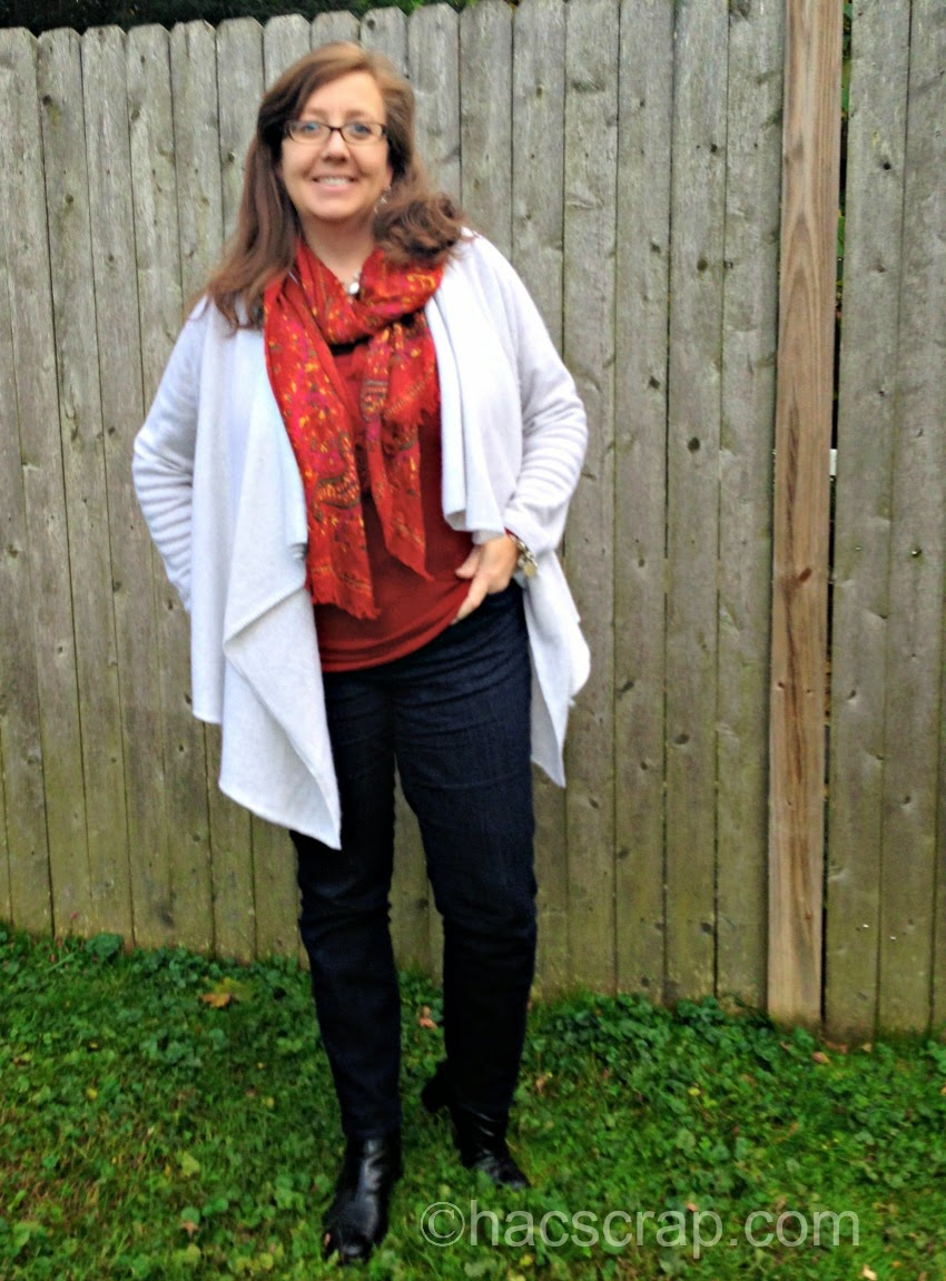 MidLife Mom Style Cardi over Dark Jeans and a t-shirt.