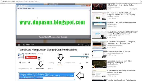 Pilih dan masukan video Youtube