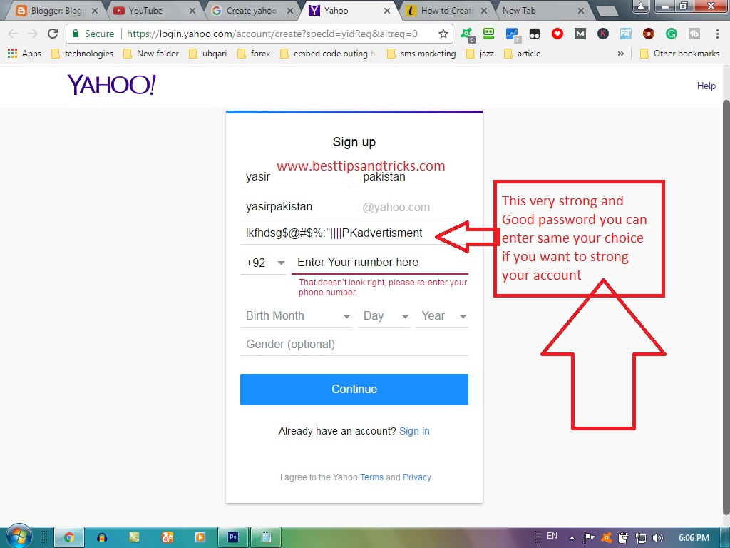how to register yahoo mail create yahoo account full method