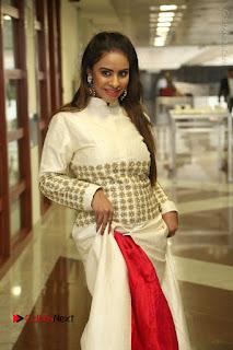 Telugu Actress Sri Reddy Mallidi Stills in White Beautiful Dress at Marriage Needs Bridal Fashion Week 2017 Logo Launch  0009.JPG