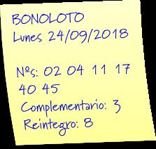 resultado bonoloto lunes 24 septiembre 2018