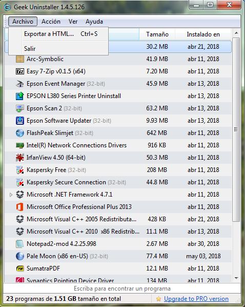 Como obtener una lista de todos nuestros programas instalados con Geek Uninstaller - El Blog de HiiARA