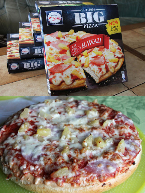 Original Wagner Big Pizza Hawaii - Verpackung & aufgebacken