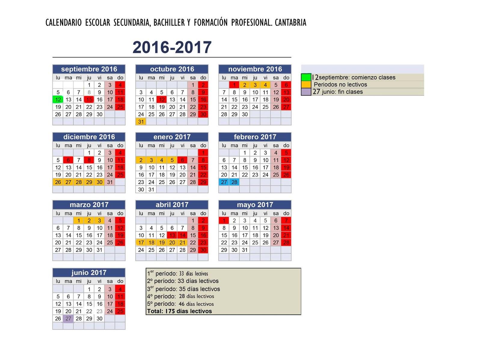 Ampa I E S Valentin Turienzo Calendario Escolar Curso 2016