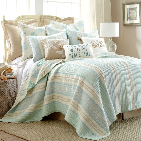 Light Blue and Beige Beach Quilt with Stripes