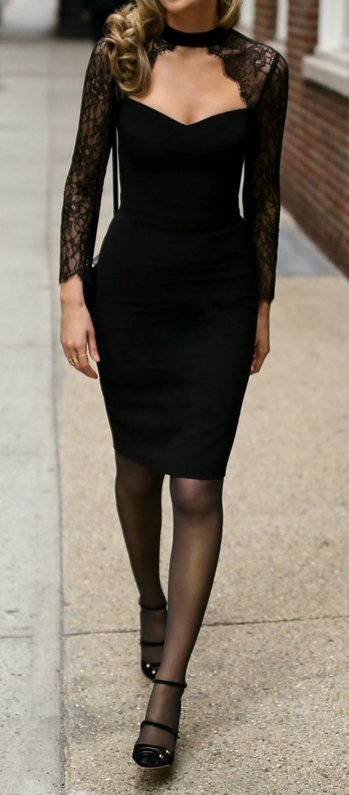 all black everything / bodycon dress + bag + tights + heels