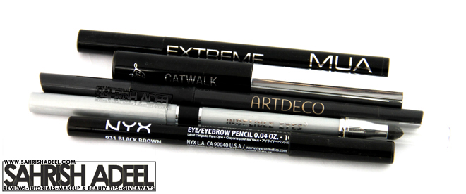 Eye Liners by MUA Makeup Academy, Luscious Cosmetics, Artdeco, Mineral Hygienics & NYX