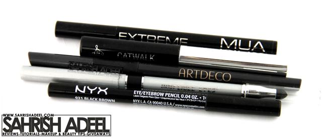 Eye Liners by MUA Makeup Academy, Luscious Cosmetics, Artdeco, Mineral Hygienics & NYX