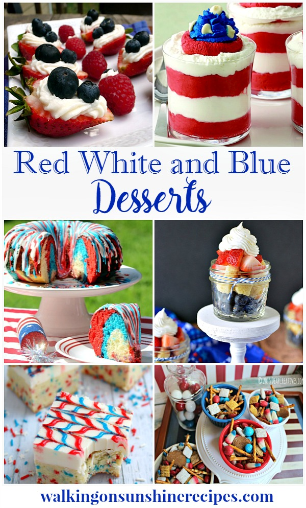 Red, white and blue patriotic desserts are featured this week on Walking on Sunshine.