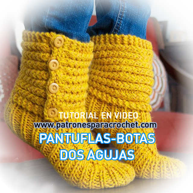 Botas Pantuflas Tejidas En Dos Agujas O Palitos Video Tutorial