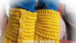 Botas Pantuflas tejidas en Dos Agujas o Palitos / Video tutorial