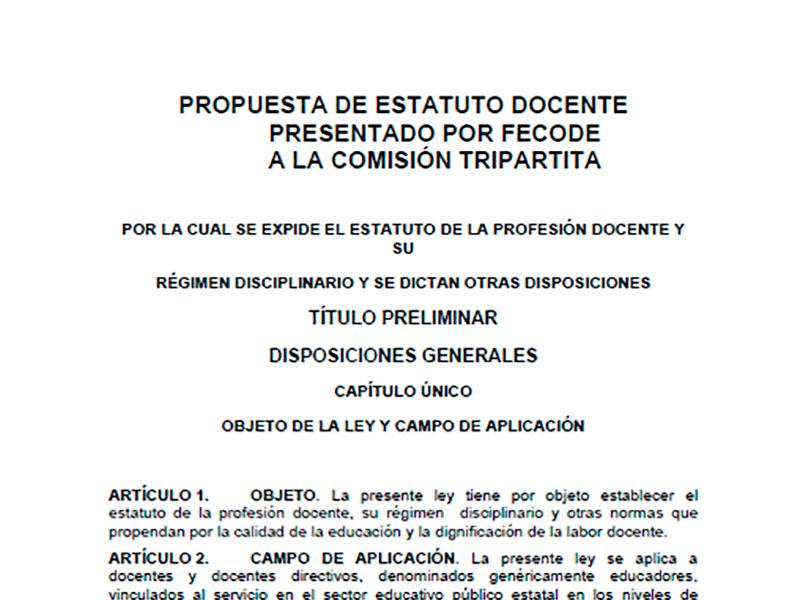 Propuesta de estatuto docente presentado por Fecode a la comisión tripartita
