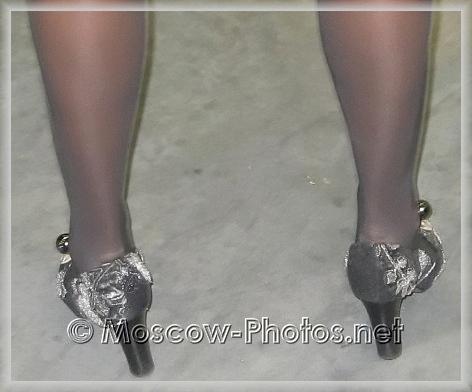 Patterned Black High Heel Shoes