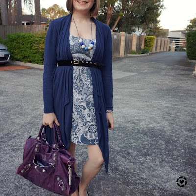 awayfromblue Instagram | monochrome blue belted cardigan dress outfit with purple balenciaga work bag autumn office wear