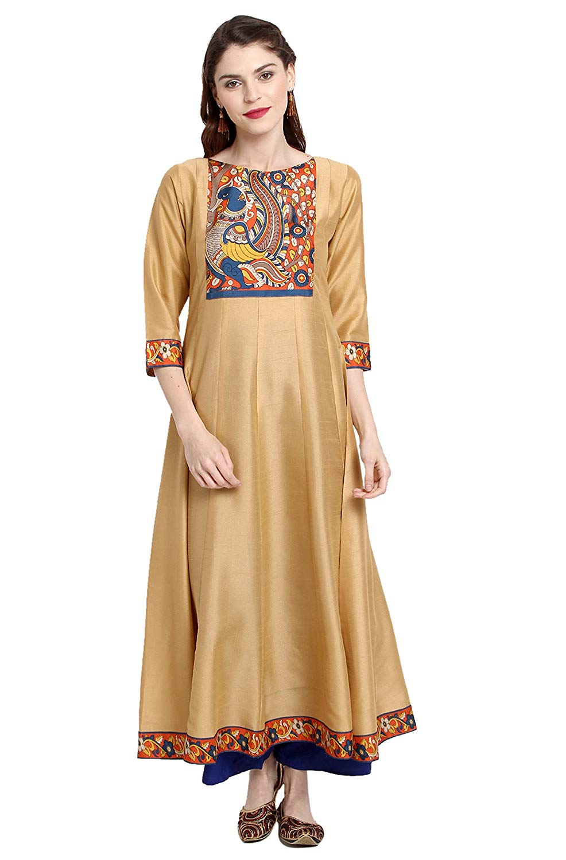 Janasya Women's Poly Silk Anarkali Kurta