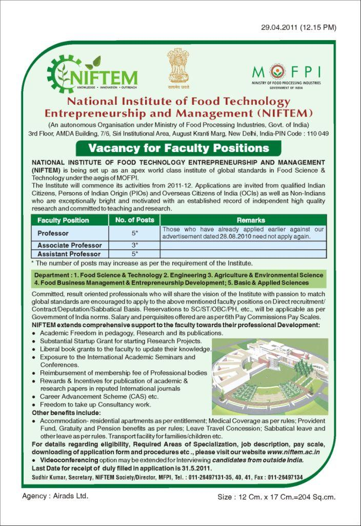 Jobs in National Institute of Food Technology