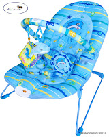 Junior L'abeille BR90001B Musical Baby Bouncer in Blue