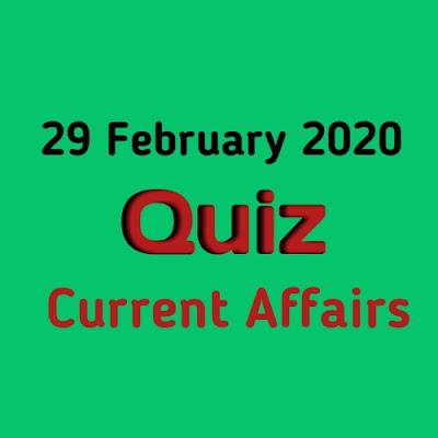 Current Affairs Quiz in Hindi - 29 February 2020