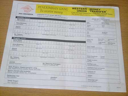 Formulir Lama Western Union Penerima Uang