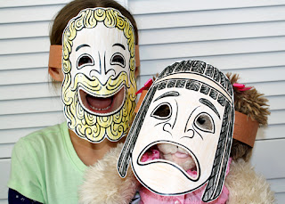 Tessa thought these ancient Greek theater masks were a hoot. She was totally intrigue by the idea of comedy versus tragedy.