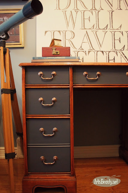 general finishes queenstown gray paint executive desk painted makeover before and after diy copper hardware