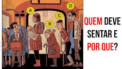 Analise a situação: Quem deve se sentar e por que?