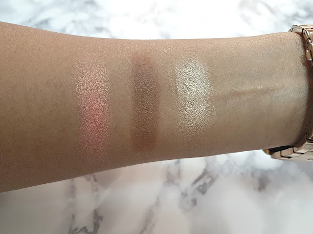 Swatches of the Rimmel Kate Sculpting Palette in 003 Golden Bronze