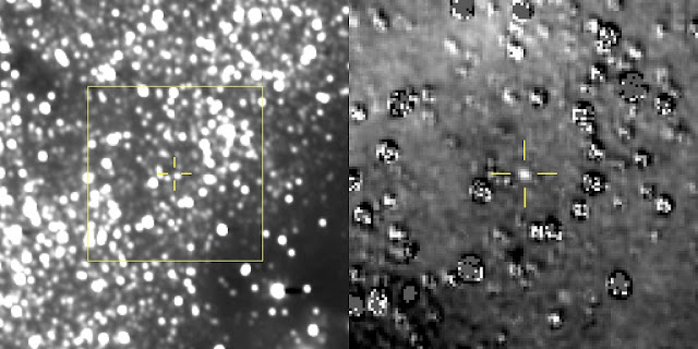 "The figure on the left is a composite image produced by adding 48 different exposures from the News Horizons Long Range Reconnaissance Imager (LORRI), each with an exposure time of 29.967 seconds, taken on Aug. 16, 2018. The predicted position of the Kuiper Belt object nicknamed Ultima Thule is at the center of the yellow box, and is indicated by the yellow crosshairs, just above and left of a nearby star that is approximately 17 times brighter than Ultima.  At right is a magnified view of the region in the yellow box, after subtraction of a background star field ""template"" taken by LORRI in September 2017 before it could detect the object itself. Ultima is clearly detected in this star-subtracted image and is very close to where scientists predicted, indicating to the team that New Horizons is being targeted in the right direction. The many artifacts in the star-subtracted image are caused either by small mis-registrations between the new LORRI images and the template, or by intrinsic brightness variations of the stars. At the time of these observations, Ultima Thule was 107 million miles (172 million kilometers) from the New Horizons spacecraft and 4 billion miles (6.5 billion kilometers) from the Sun.  Image credits: NASA/Johns Hopkins University Applied Physics Laboratory/Southwest Research Institute"