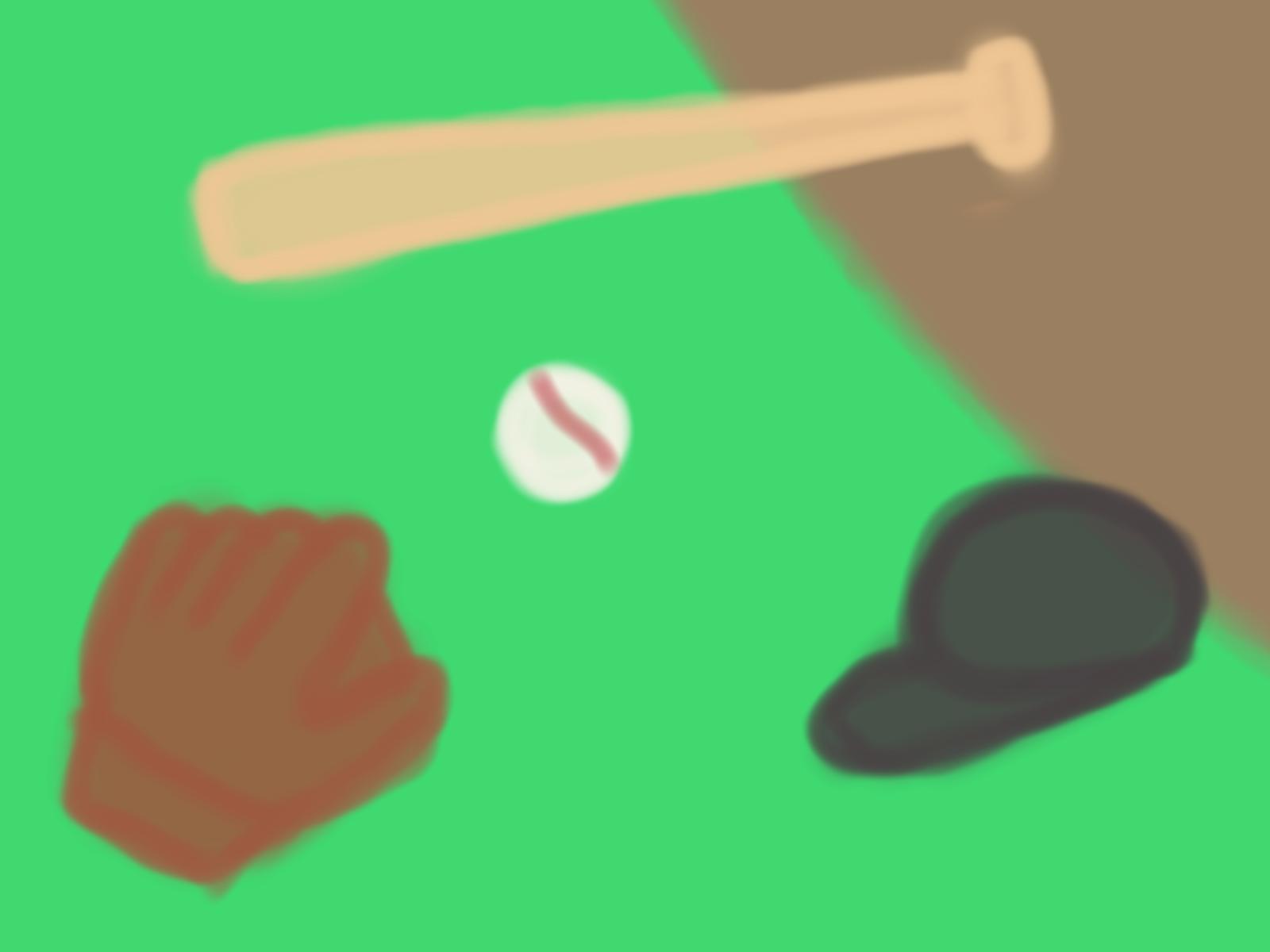 バットとグローブと帽子とボールのある野球場