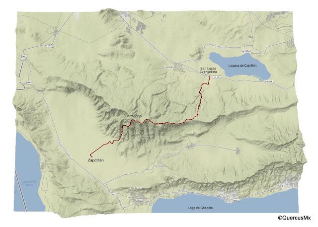 Mapa Ruta San Lucas Evangelista - Cerro Viejo - Zapotitán