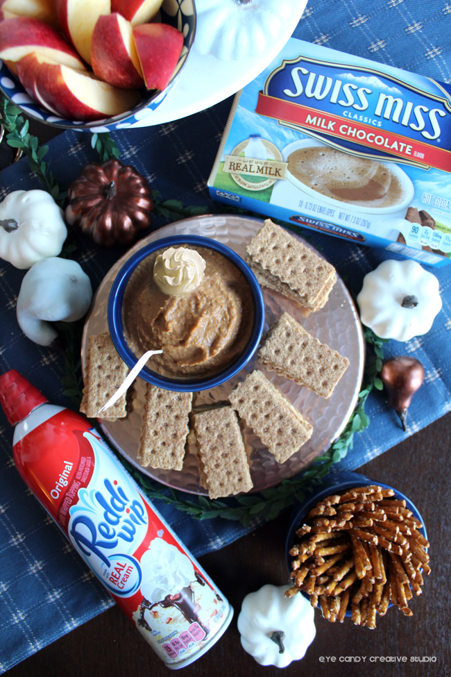 pumpkin dip recipe, swiss miss, reddi wip, pumpkins, holiday table