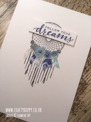 Handmade Dreamcatcher card in shades of blue made with the Follow Your Dreams stamp set and Balmy Blue ink by Stampin' Up!