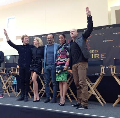 Catching Fire cast members Sam Claflin, Jena Malone, Jeffrey Wright, Bruno Gunn and Meta Golding on the first stop of the promotional Victory Tour at Cherry Hill Mall, Philadelphia. Nov 03 2013.