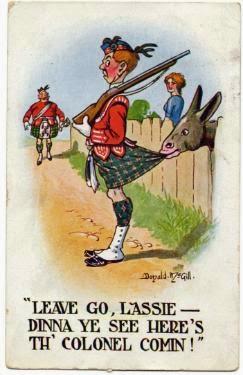 cheeky scots kilt postcard