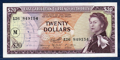 East Caribbean Dollars banknotes Currency collecting Queen Elizabeth