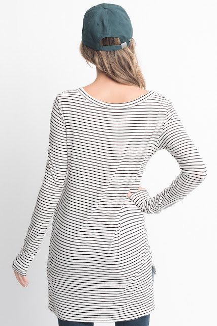 Shop for White Striped Long Sleeve Hi Lo Button Down Tunic Online on Caralase