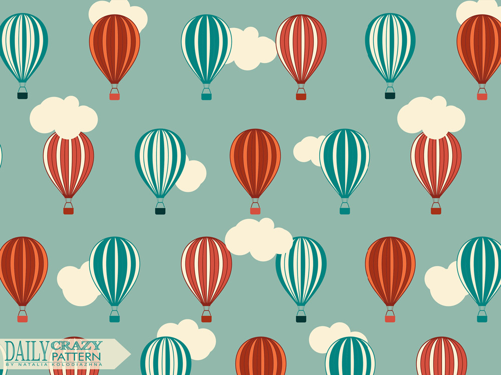 "Vintage pattern with balloons for ""Daily Crazy Pattern"" project"
