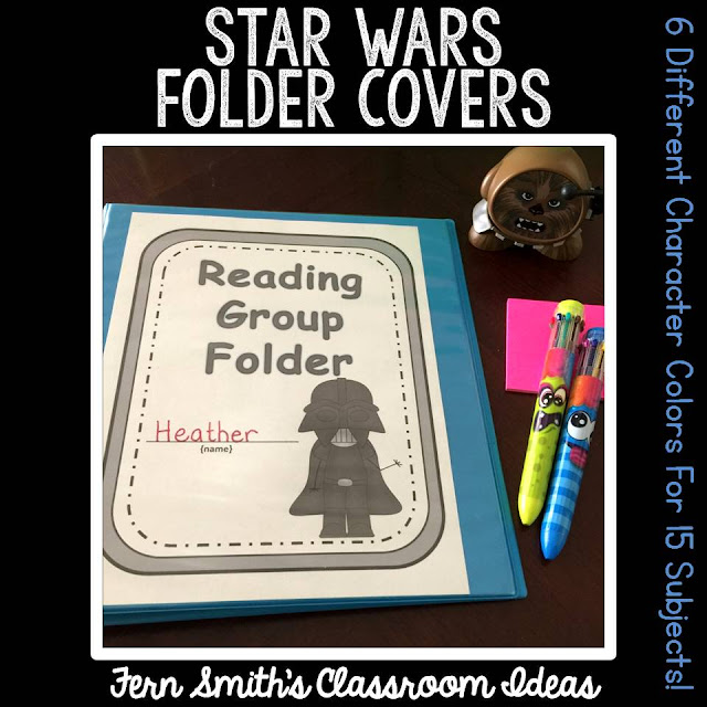 Do You Have a Star Wars Classroom Theme? Your students will love these daily work folder covers for their student binders and you will love how organized these folders make your classroom management easier! There are SIX different character / color schemes included in this download:  1. Yoda with a green border.  2. Darth Vader with a gray border.  3. Chewbacca with a brown border.  4. C-3PO with a gold border.  5. R2-D2 with a blue border.  6. Princess Leia with a brown border. Fern Smith's Classroom Ideas at TeachersPayTeachers.