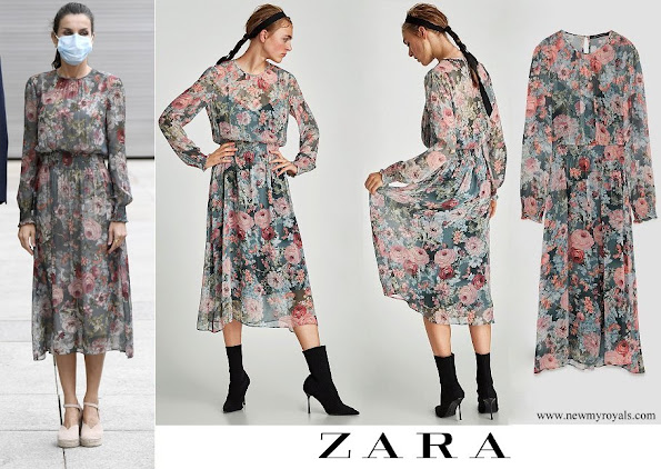 Queen Letizia wore ZARA printed midi dress