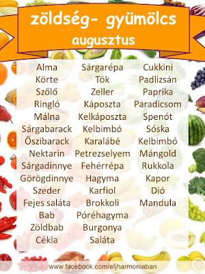 idény gyümölcs, szezonális, szezonalitás, évszaknak megfelelő, augusztus, zöldségek, gyümölcsök