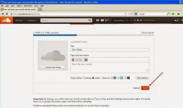 how to upload mp3 to facebook timeline