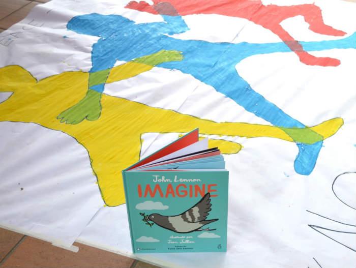 manualidad infantil paz cuento imagine john lennon editorial flamboyant pintar siluetas niños