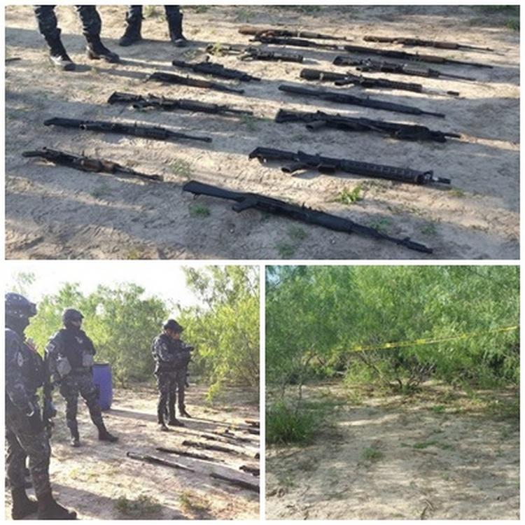 Elementos de la Sedena y Federales aseguran arsenal en Río Bravo, Tamaulipas.