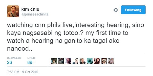 Kim Chiu watches live hearing