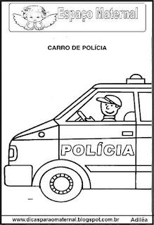 Desenho carro de polícia para colorir